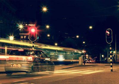Amsterdam Lights light life 2 a car waits at a traffic light