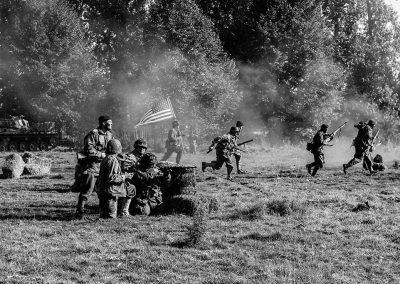 Holme 1940s weekend American's charging the Nazi camp