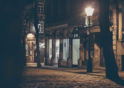 Harrogate empty street at night