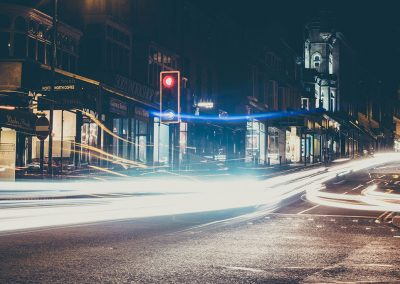 Long exposure of cars pulling away from lights in Harrogate
