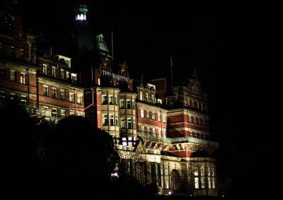 The Majestic Hotel in Harrogate at night